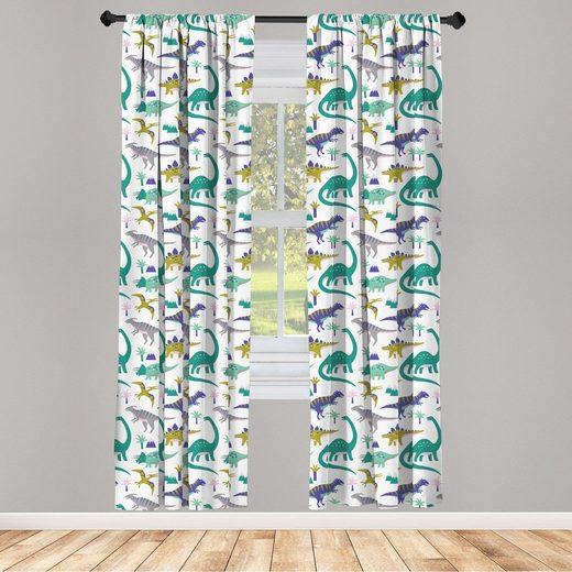 Gardine »Vorhang für Wohnzimmer Schlafzimmer Dekor«, Abakuhaus, Kindergarten Dinosaurier Berge Bäume