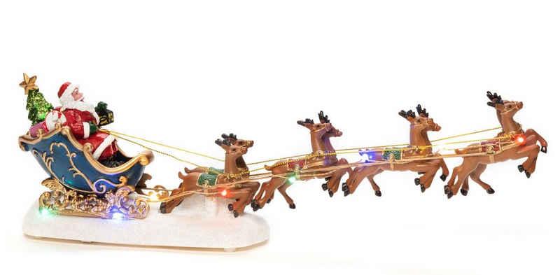 KONSTSMIDE LED Dekofigur »Weihnachtsmann im Schlitten mit Rentieren«, Höhe ca. 14 cm