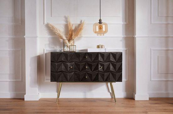 Guido Maria Kretschmer Home&Living Sideboard »Brüssel«, teilmassives Sideboard mit modernen MDF Fronten, 3 Schubladen