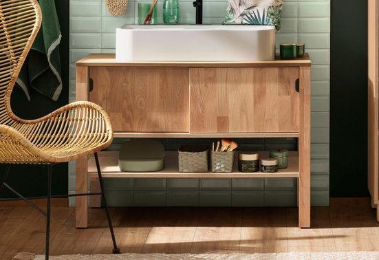 Home affaire Waschbeckenunterschrank »April« Schiebetüren aus Massivholz, Breite 100 cm