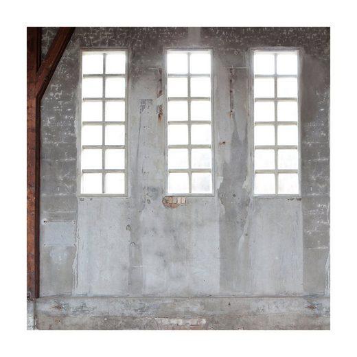 vtwonen Fototapete »Fenster - Fabrik - Industriell«, 3D-Optik, (1 St), Grau - 300x300cm