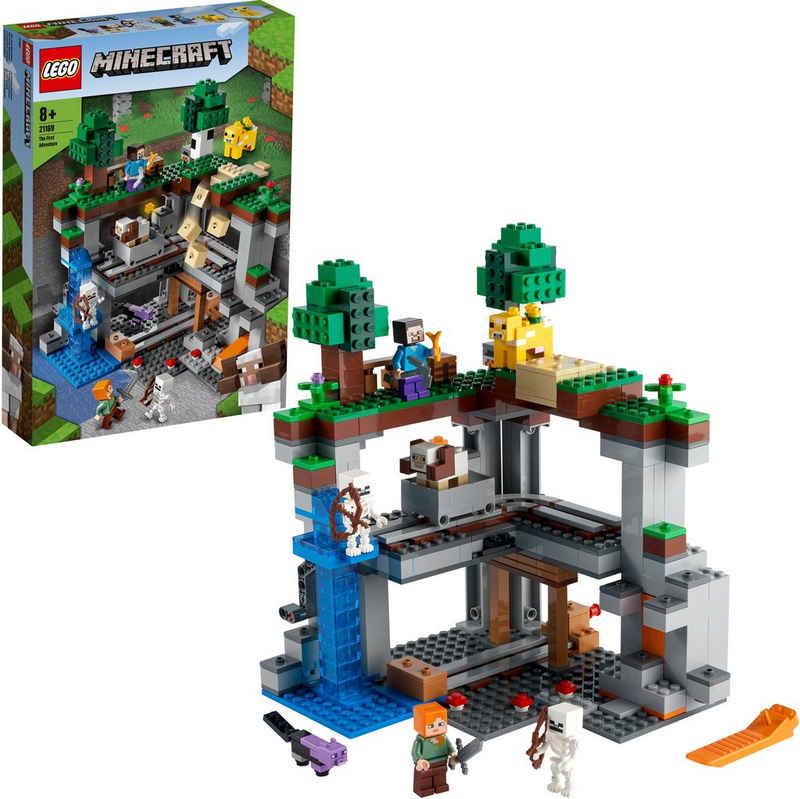 LEGO® Konstruktionsspielsteine »Das erste Abenteuer (21169), LEGO® Minecraft™«, (542 St), Made in Europe