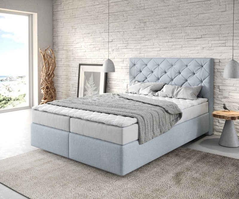 DELIFE Boxspringbett »Dream-Great«, Flachgewebe Pastellblau 140x200 mit Matratze und Topper
