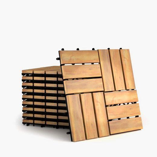 Teppichboden »Terrassenfliesen«, COSTWAY, 12 Latten, 10er Set 30x30cm Holz, Bodenfliesen, Akazienholz, Holzfliesen Bodenbelag, Klickfliesen Braun 12 Latten)
