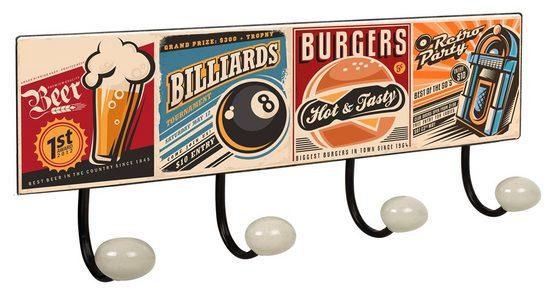 Lashuma Wandhaken »Lunchbar«, Kleiderhaken Leiste 40x15,5 cm, 4x Garderobenhaken