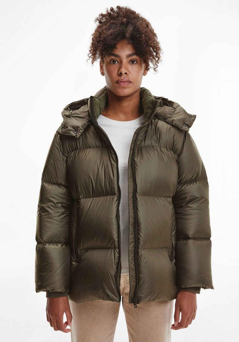 Calvin Klein Jeans Daunenjacke »MW DOWN SHINY OVERSIZED PUFFER« mit abnehmbarer Kapuze & Calvin Klein Jeans Logo-Schriftzug am Ärmel