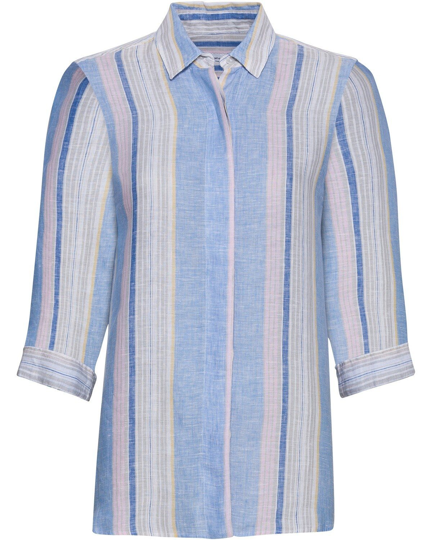 636 Shirt Damen Angel of Style Gr 46 bis 58 blau Knopfleiste NEU