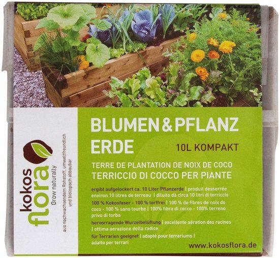 Floragard Pflanzerde »Kokosflora Blumen- u. Pflanzerde 10L mit NKP, kompakt, 1 x 10 L«, (1-St), Blumen- u. Pflanzerde, 10 Liter