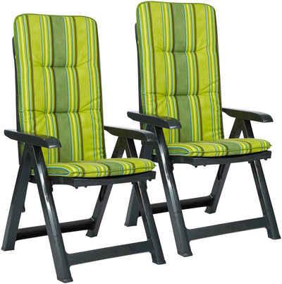 Best Gartenstuhl Kansas 2er Set Kunststoff Verstellbar Grün Inkl Auflage