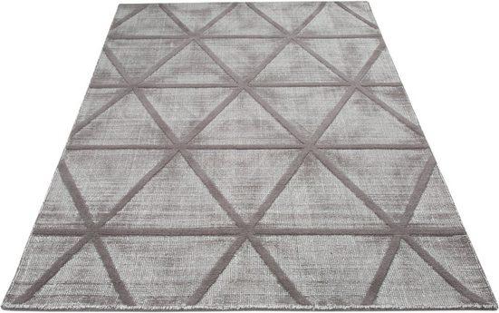 Wollteppich »Sunay«, LeGer Home by Lena Gercke, rechteckig, Höhe 13 mm, reine Wolle, Hoch-Tief-Effekt, Wohnzimmer