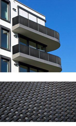 dynamic24 Balkonsichtschutz Polyrattan PVC Sichtschutzmatte 300x90 Balkon Sichtschutz Zaun Windschutz