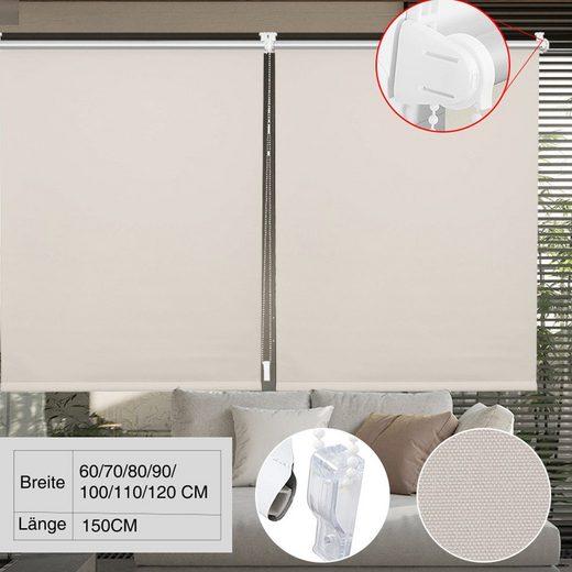 Seitenzugrollo »Thermorollo-Beige«, i@home, verdunkelnd, ohne Bohren, Freihängend, Hitzeschutz