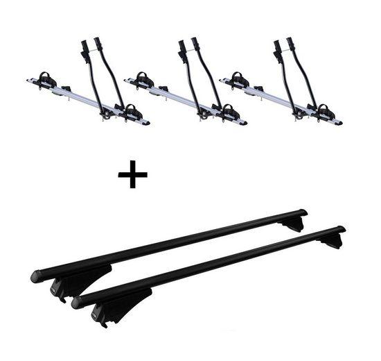 VDP Fahrradträger, 3x Fahrradträger SAGITTAR + Relingträger Tiger Stahl L kompatibel mit Toyota Auris Touring ab 13