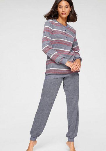 Schiesser Pyjama in Streifenoptik mit kurzer Knopfleiste