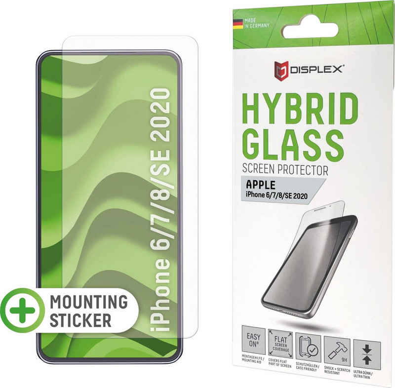 Displex »DISPLEX Hybrid Glass für Apple iPhone 6/7/8/SE (2020) (4,7), 9H, mit Montagesticker« für Apple iPhone 6, Apple iPhone 7, Apple iPhone 8, Displayschutzglas