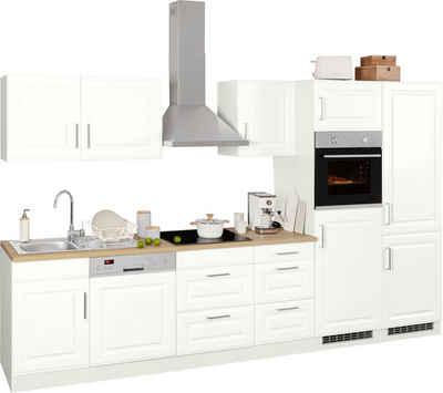 HELD MÖBEL Küchenzeile »Stockholm«, mit E-Geräten, Breite 340 cm, mit hochwertigen MDF Fronten im Landhaus-Stil