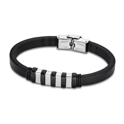 Lotus Style Armband »JLS1828-2-4 Lotus Style Armband silber schwarz« (Armbänder), für Damen, Herren aus Edelstahl (Stainless Steel), Echtleder