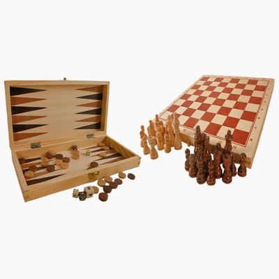 Small Foot Spiel, Schach,Backgammon »Schach Dame und Backgammon, Spieleklassiker«, Diese schöne Spielesammlung aus Holz beinhaltet Spiele wie Schach, Dame oder Backgammon