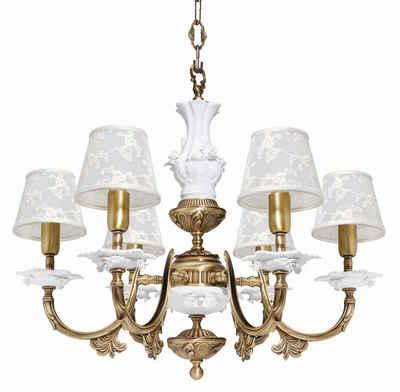 Licht-Erlebnisse Kronleuchter »ROSE«, Pendelleuchte aus Messing Jugendstil E14 Wohnzimmer Esszimmer