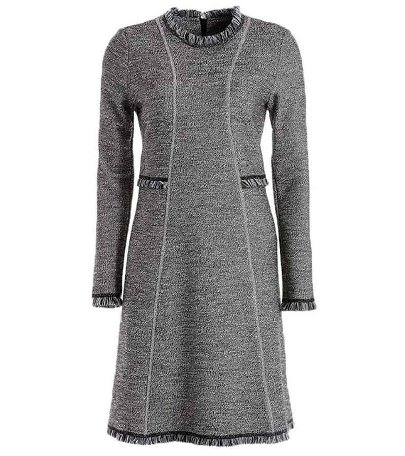TUZZI Strickkleid »TUZZI Strick-Kleid romantisches Damen Langarm-Kleid mit Fransen-Details Ausgeh-Kleid Schwarz/Weiß«
