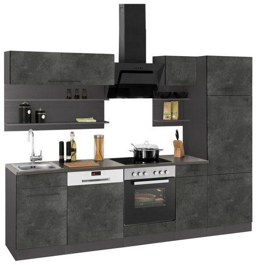 HELD MÖBEL Küchenzeile »Tulsa«, mit E-Geräten, Breite 270 cm, schwarze Metallgriffe, hochwertige MDF Fronten