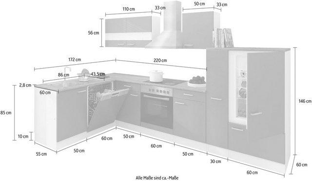 Einbauküchen - RESPEKTA Winkelküche »Hamm«, mit E Geräten, Stellbreite 310 x 172 cm  - Onlineshop OTTO