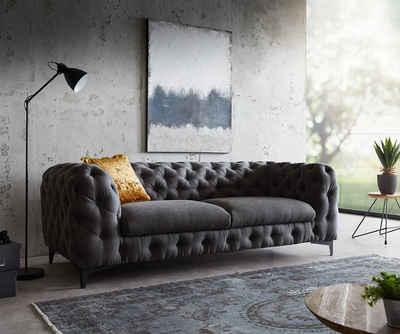DELIFE 3-Sitzer »Corleone«, Schwarz 225x97 cm 3-Sitzer Couch
