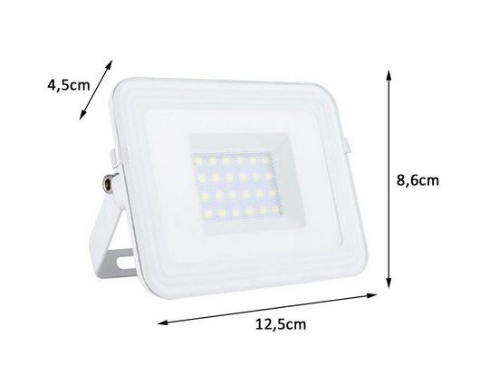 REV LED Flutlichtstrahler, schwenkbarer Flutlicht Strahler in Weiß, Scheinwerfer-Lampe für Hof & Hauswand Fassaden-Beleuchtung, Außen-Leuchte