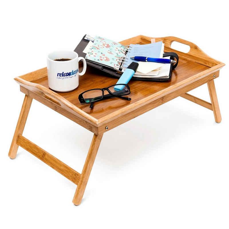 relaxdays Tablett »Betttablett Bambus lackiert klappbar«, Bambus