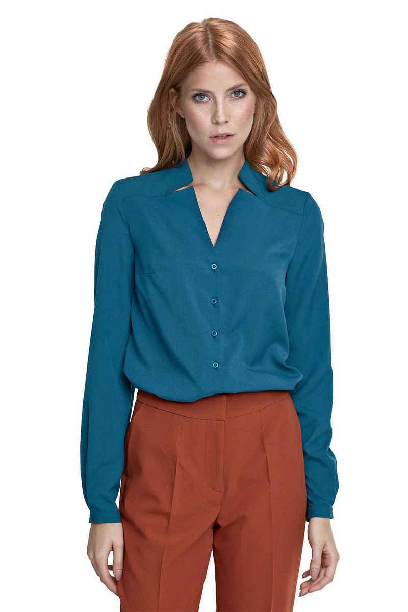 nife Klassische Bluse »Langarm-Bluse mit V-Ausschnitt« Schlitze am V-Ausschnitt