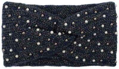 styleBREAKER Stirnband »Strick Stirnband Perlen Metallic Faden und Knoten Detail« Strick Stirnband Perlen Metallic Faden und Knoten Detail