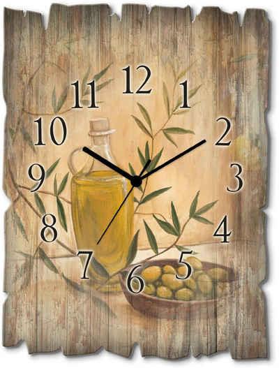 Artland Wanduhr »Oliven und Zitronen« (lautlos, ohne Tickgeräusche, nicht tickend, geräuschlos - wählbar: Funkuhr o. Quarzuhr, moderne Uhr für Wohnzimmer, Küche etc. - Stil: modern)