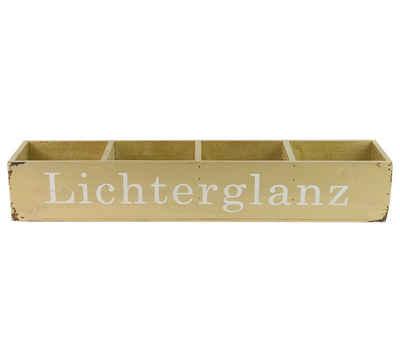 """Parts4Living Holzkiste »Antikholz Kiste mit dem Aufdruck """"Lichterglanz"""" champagner 50x11x8 cm«, im angesagten Shabby Chic Stil"""