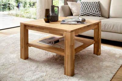 MCA furniture Couchtisch, Couchtisch Massivholztisch mit Ablage