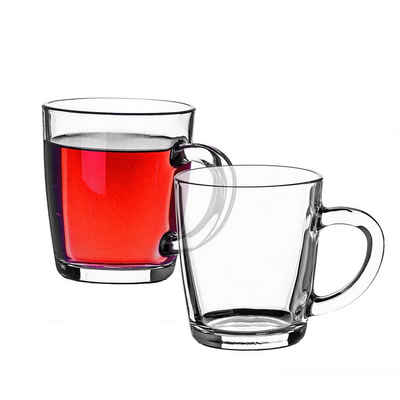 Pasabahce Teeglas »Trinkgläser − Set mit Henkel − Teetassen aus Glas − Kaffee Gläser«, Glas