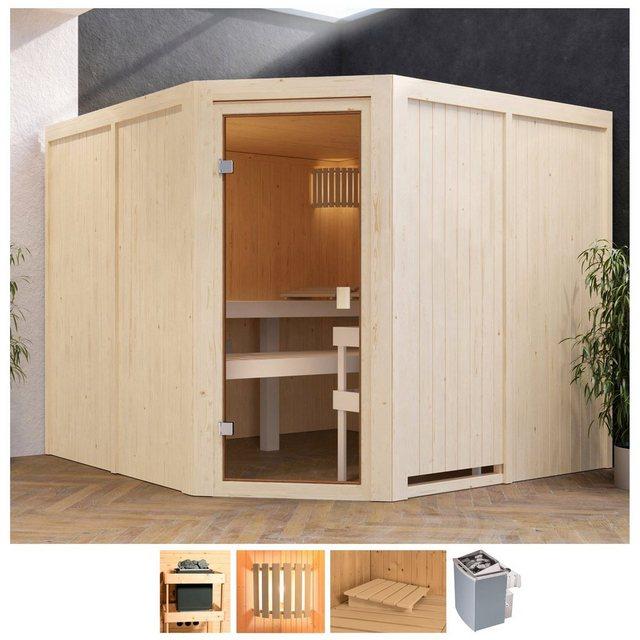 Saunen und Zubehör - Karibu Sauna »Evka«, BxTxH 231 x 231 x 198 cm, 68 mm, 9 kW Ofen mit int. Steuerung  - Onlineshop OTTO