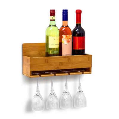 relaxdays Weinregal »Weinregal mit Glashalter«