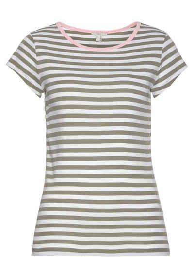 edc by Esprit T-Shirt mit farblich abgesetzter Ausschnittkante