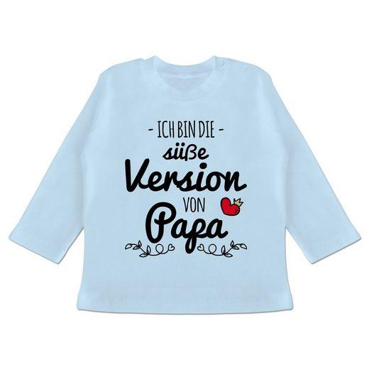 Shirtracer T-Shirt »Ich bin die süße Version von Papa - Baby T-Shirt langarm - T-Shirts« Vatertagsgeschenk Tochter & Sohn Baby