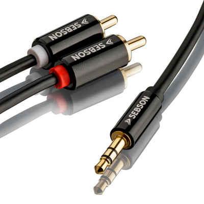 SEBSON »Audio Kabel 5m, Klinke 3,5mm auf 2 Cinch Stecker, RCA zu Jack, männlich vergoldet abgeschirmt« Optisches-Kabel