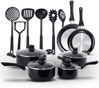 COSTWAY Kochtopf »Kochset«, Alu, Nylon, (16-tlg), mit 4 Kochtöpfe, 2 Bratpfannen und 6 Küchenhelfern