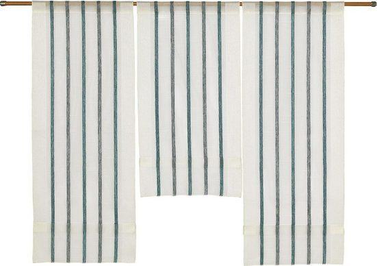 Scheibengardine »3er Set Miniflächenvorhänge Scheibengardine Schiebegardine Küchengardine Tunnelzug 2290 Natur Petrol«, EXPERIENCE, Stangendurchzug (3 Stück), Miniflächenvorhang