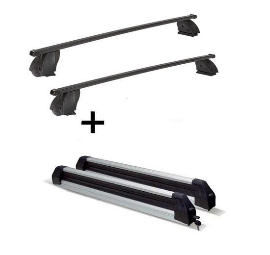 VDP Fahrradträger, Skiträger Silver Ice ausziehbar + Dachträger K1 MEDIUM kompatibel mit Volkswagen Traporter (T5) 09-15