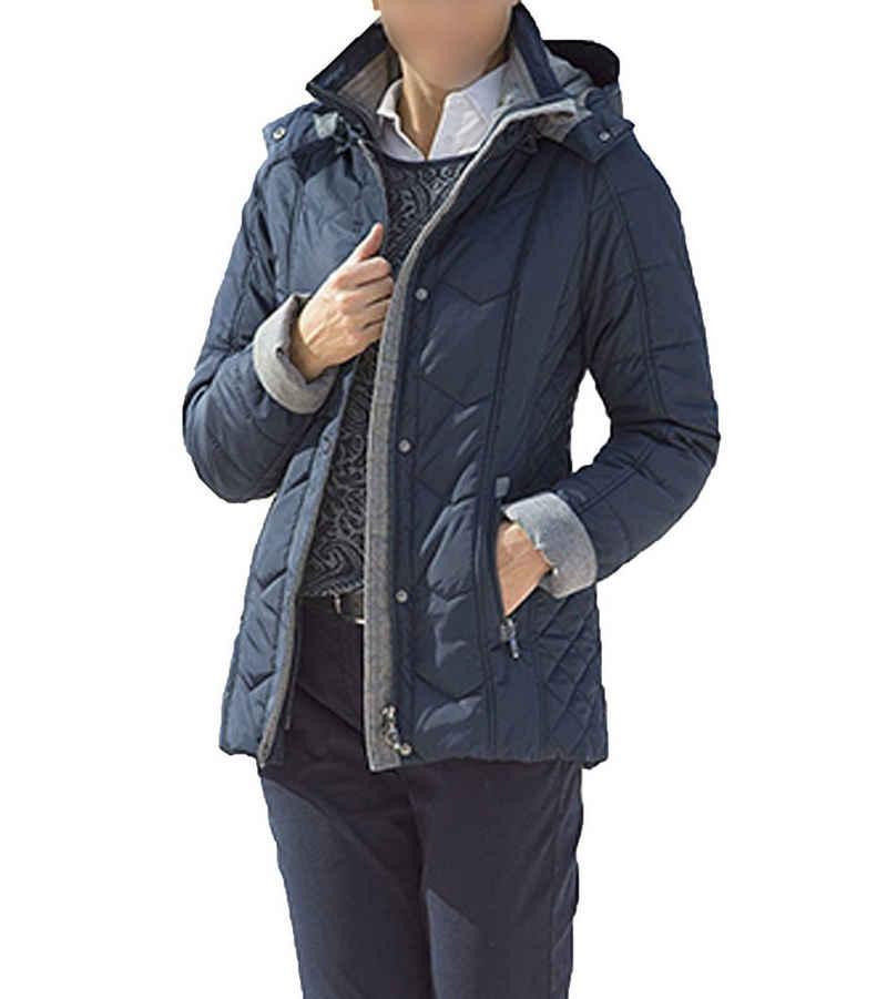 Clarina Outdoorjacke »CLARINA Stepp-Jacke wasserabweisende Damen Übergangs-Jacke Funktions-Jacke mit abnehmbarer Kapuze Blau«