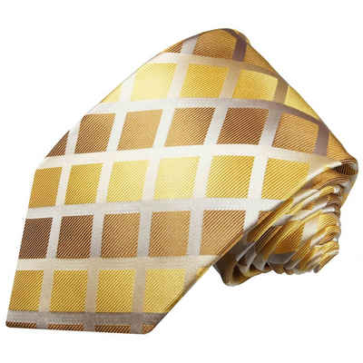 Paul Malone Krawatte »Herren Seidenkrawatte Schlips modern kariert 100% Seide« Breit (8cm), gold braun 484