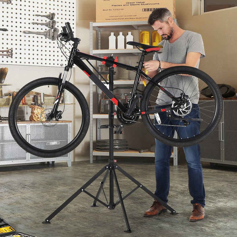 SONGMICS Fahrrad-Montageständer »SBR06B SBR061B01«, Fahrradreparaturständer, mit Schnelllösevorrichtung, Werkzeugschale, leicht