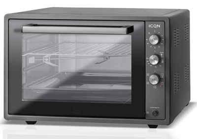 ICQN Minibackofen 60 Liter XXL, 1800 W, Umluft, Pizza-Ofen, Doppelverglasung, Drehspieß, Timer, inkl. Backblech Set, Elektrischer Mini Ofen, 40°-230°C, Emailliert