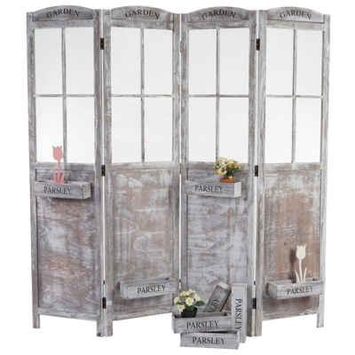 MCW Paravent »Mlsta«, Fenster mit Drahtgeflecht, Inkl. 8 abnehmbaren Pflanzkörbe, Dekorativ und vielseitig verwendbar