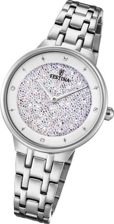 Festina Quarzuhr »D2UF20382/1 Festina Swarovski Elements Damen Uhr«, (Quarzuhr), Damenuhr mit Edelstahlarmband, rundes Gehäuse, klein (ca. 30mm), Fashion-Style