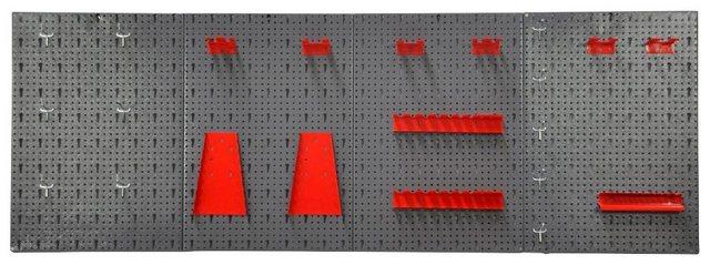 KREHER Lochwand »XL«| 4er Set Lochblech + 22-tlg. Werkzeughaltersortiment | Baumarkt > Werkbank | Grau | Metall | Kreher